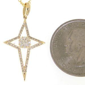 Solid 15K Yellow Gold Diamond Cross Pendant